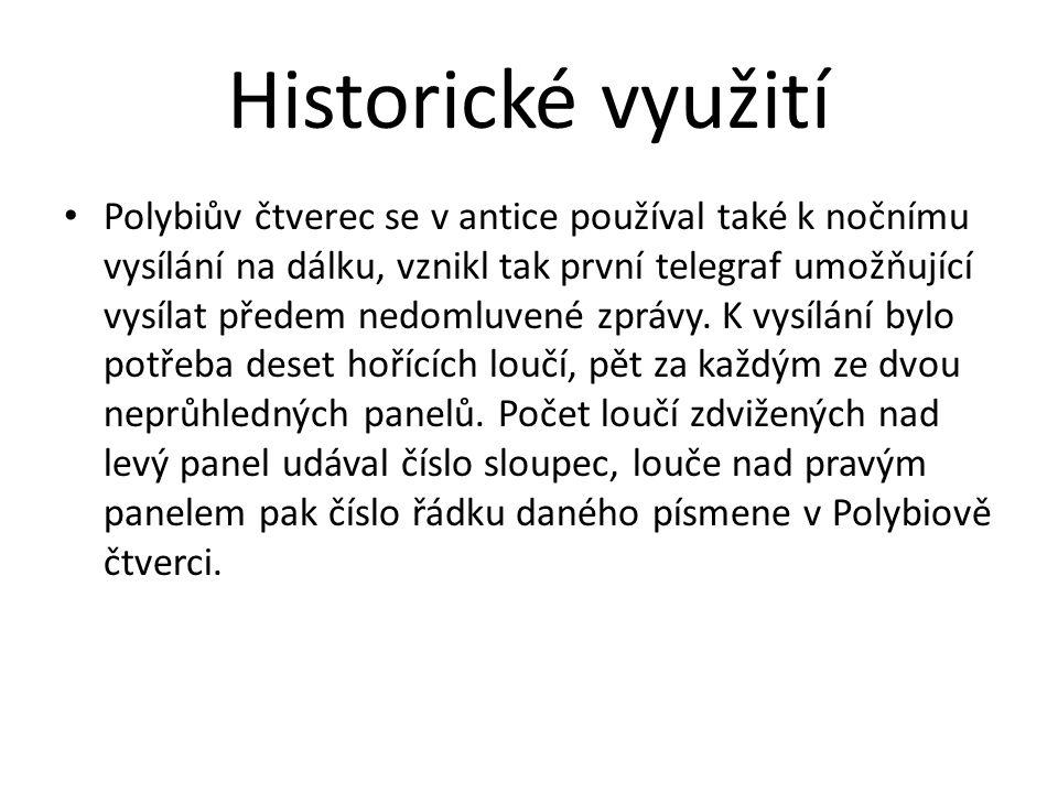 Historické využití Polybiův čtverec se v antice používal také k nočnímu vysílání na dálku, vznikl tak první telegraf umožňující vysílat předem nedomlu