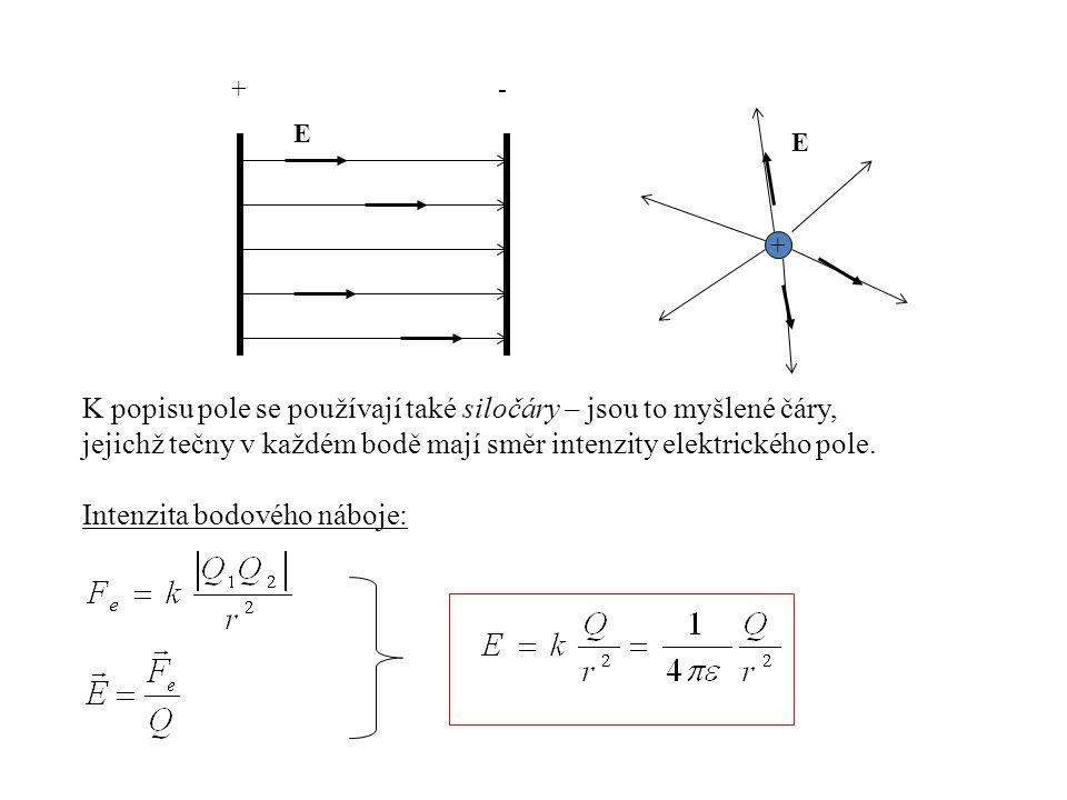 +- E + E K popisu pole se používají také siločáry – jsou to myšlené čáry, jejichž tečny v každém bodě mají směr intenzity elektrického pole. Intenzita