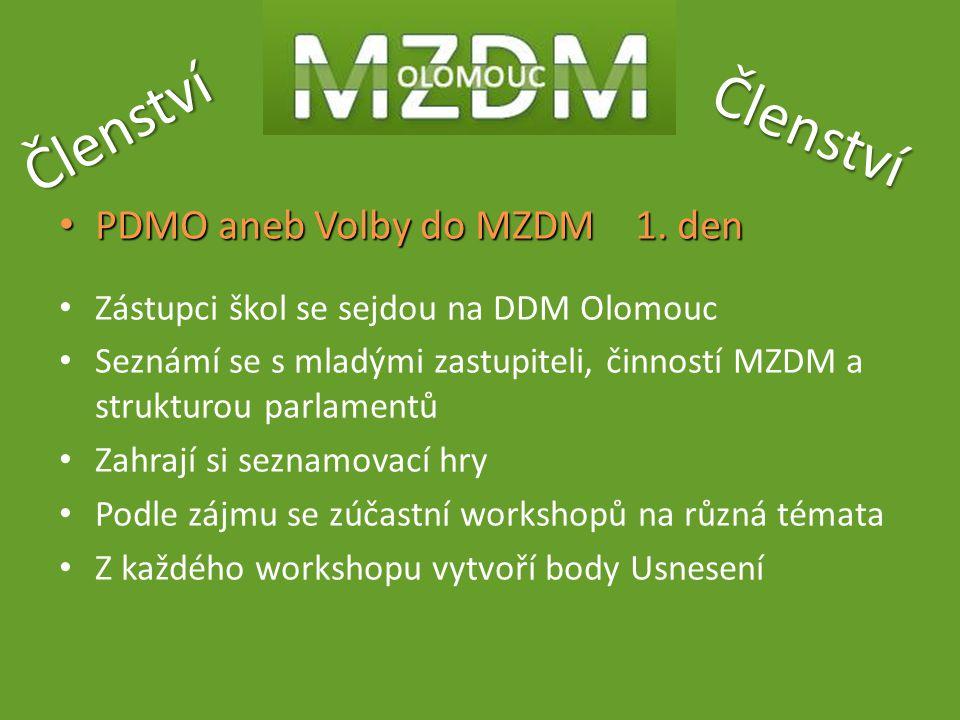 Členství Členství PDMO aneb Volby do MZDM1. den PDMO aneb Volby do MZDM1. den Zástupci škol se sejdou na DDM Olomouc Seznámí se s mladými zastupiteli,