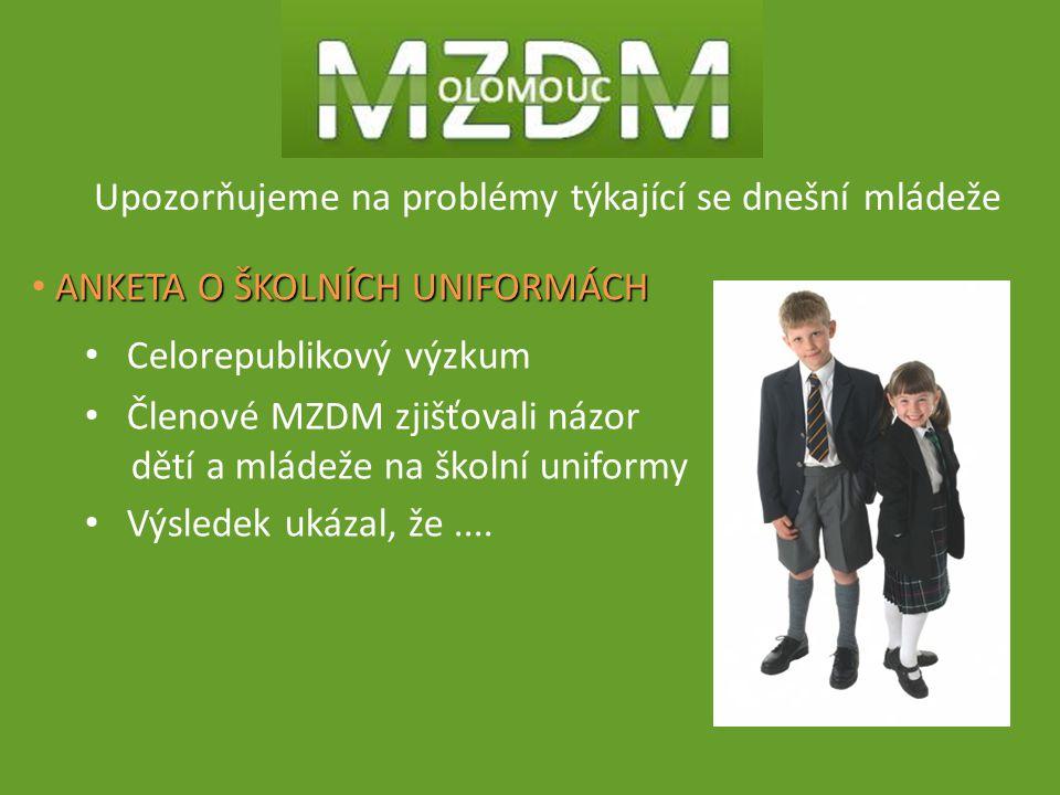Upozorňujeme na problémy týkající se dnešní mládeže ANKETA O ŠKOLNÍCH UNIFORMÁCH Celorepublikový výzkum Členové MZDM zjišťovali názor dětí a mládeže na školní uniformy Výsledek ukázal, že....