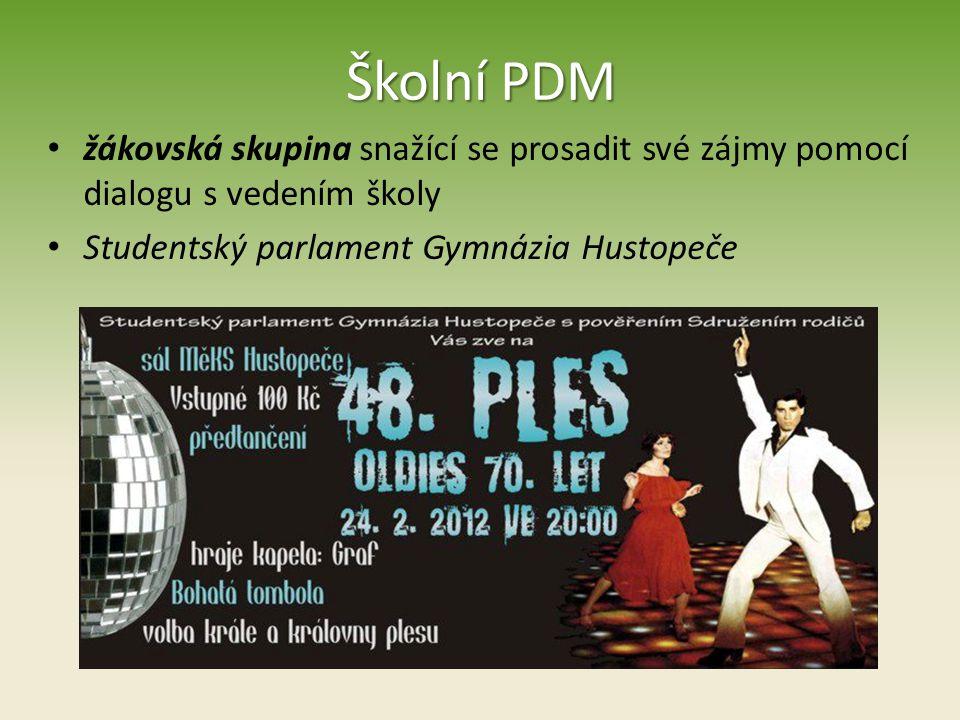 Školní PDM žákovská skupina snažící se prosadit své zájmy pomocí dialogu s vedením školy Studentský parlament Gymnázia Hustopeče