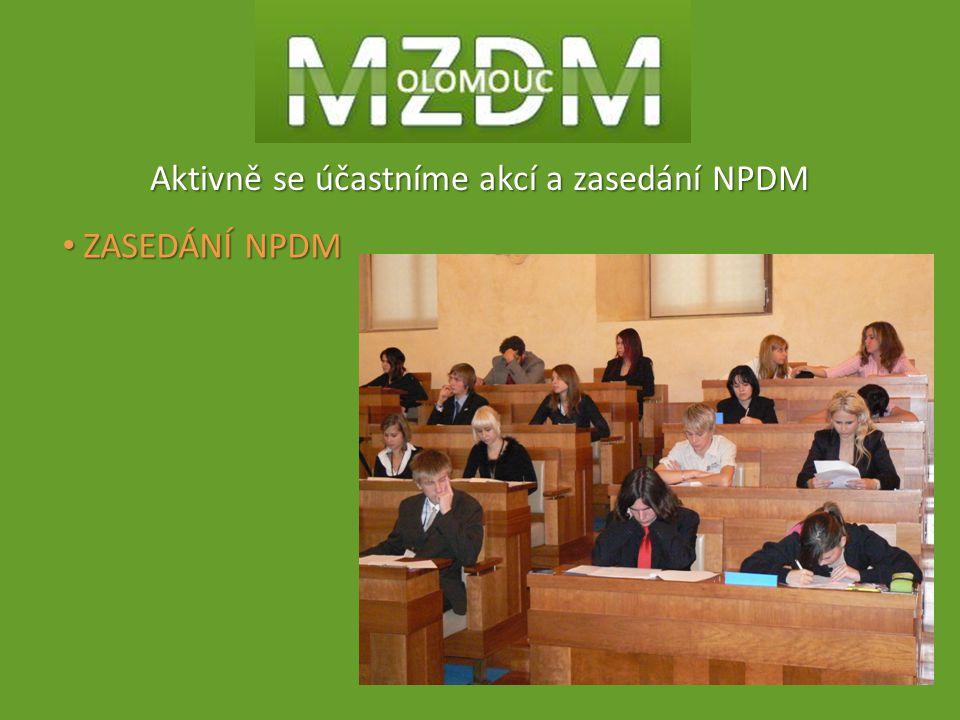 Aktivně se účastníme akcí a zasedání NPDM ZASEDÁNÍ NPDM ZASEDÁNÍ NPDM