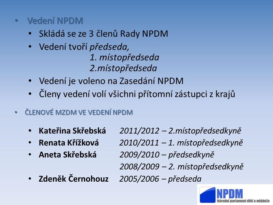 Vedení NPDM Vedení NPDM Skládá se ze 3 členů Rady NPDM Vedení tvoří předseda, 1. místopředseda 2.místopředseda Vedení je voleno na Zasedání NPDM Členy