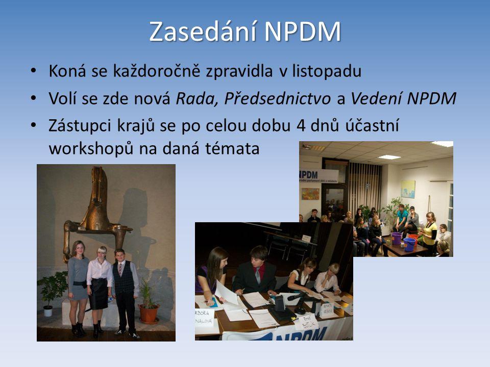 Zasedání NPDM Koná se každoročně zpravidla v listopadu Volí se zde nová Rada, Předsednictvo a Vedení NPDM Zástupci krajů se po celou dobu 4 dnů účastn