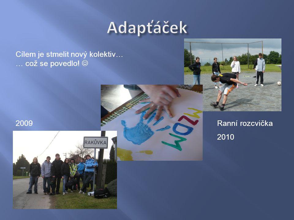 Ranní rozcvička 2010 Cílem je stmelit nový kolektiv… … což se povedlo! 2009