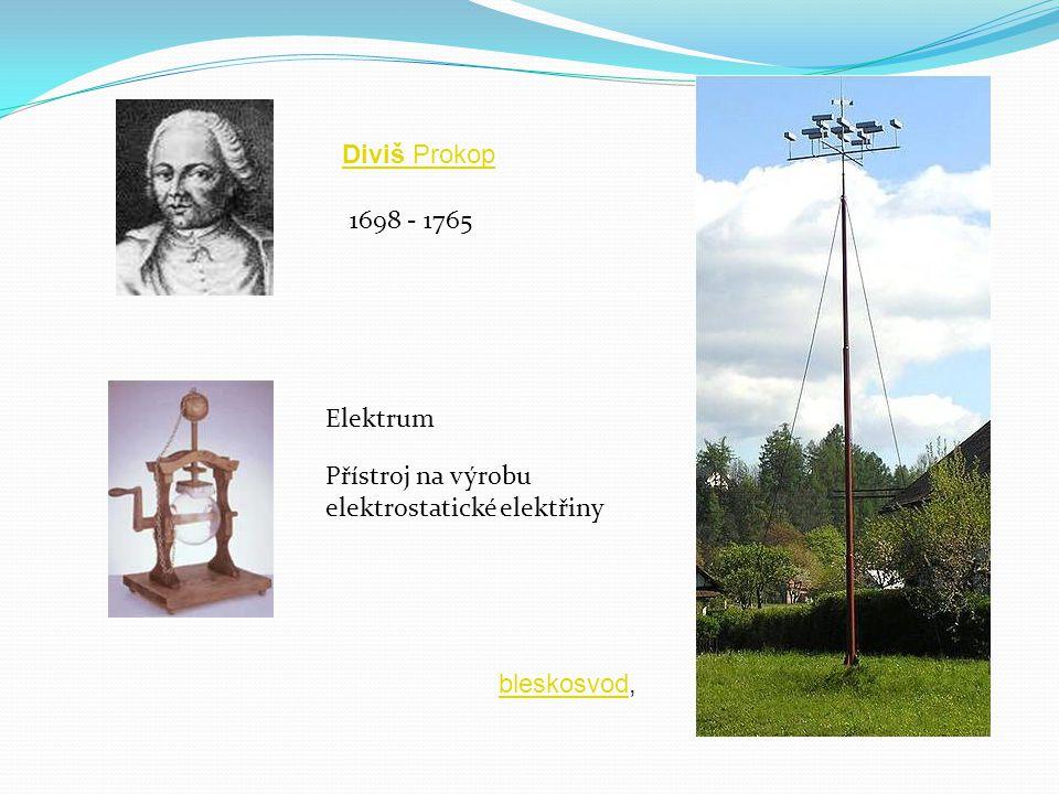 1698 - 1765 Elektrum Přístroj na výrobu elektrostatické elektřiny Diviš Prokop bleskosvodbleskosvod,