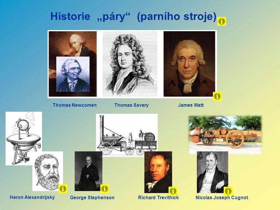 "Historie ""páry"" (parního stroje) Thomas NewcomenThomas Savery James Watt Heron Alexandrijský George StephensonRichard TrevithickNicolas Joseph Cugnot"