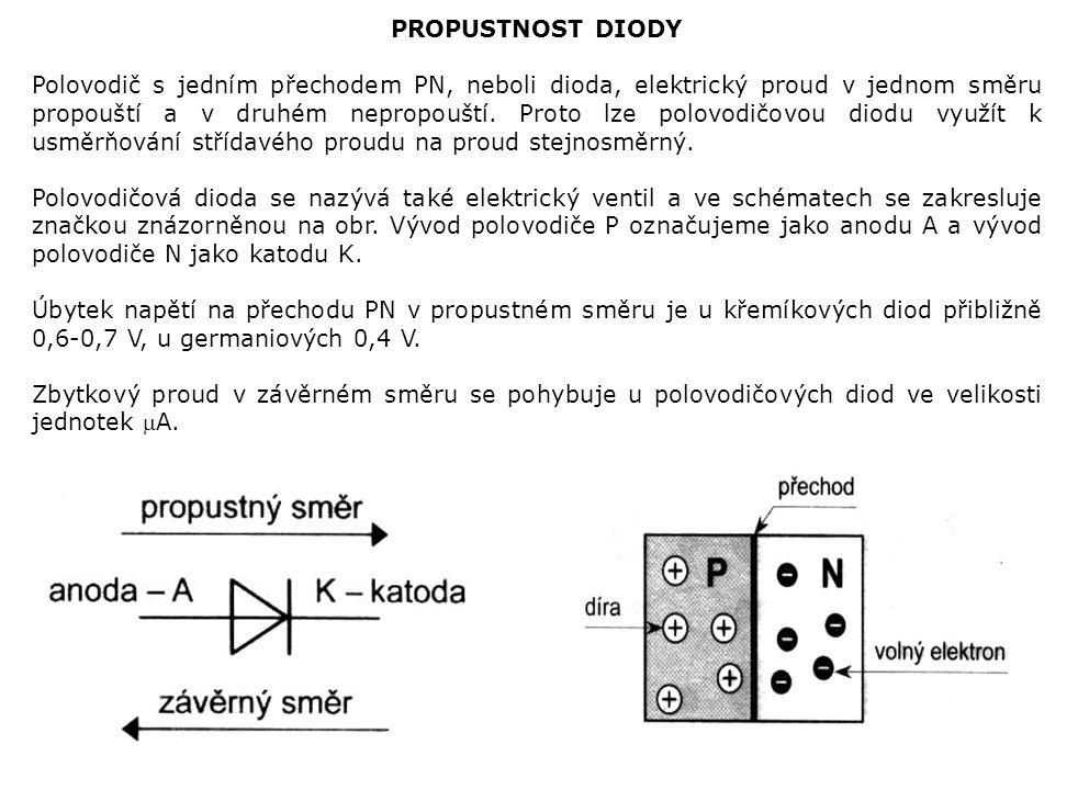 PROPUSTNOST DIODY Polovodič s jedním přechodem PN, neboli dioda, elektrický proud v jednom směru propouští a v druhém nepropouští. Proto lze polovodič