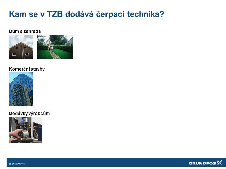 Co se očekává v čerpací technice pro: Dům TOPENÍ, SOLÁRNÍ OHŘEV, PODLAHOVÉ VYTÁPĚNÍ, VĚTRÁNÍ, CIRKULACE VODY, ODPADNÍ, FEKÁLNÍ A DEŠŤOVÁ VODA, POSÍLENÍ TLAKU VODY Největší rozvoj v technologiích je u čerpadel pro topení (klimatizaci) – bariéry vstupu Důraz na výrobky s minimální spotřebou elektrické energie Výrobky, které budou napomáhat nízko-energetickému hodnocení celé nemovitosti Efektivní větrání – automatické uzly jako součást těchto systémů (včetně čerpadel) Rozdělovače podlahového vytápění, uzly k stacionárním kotlům, solárním ohřevům Legislativní změny se nedotýkají a zřejmě ani nedotknou cirkulace teplé vody (HWC)