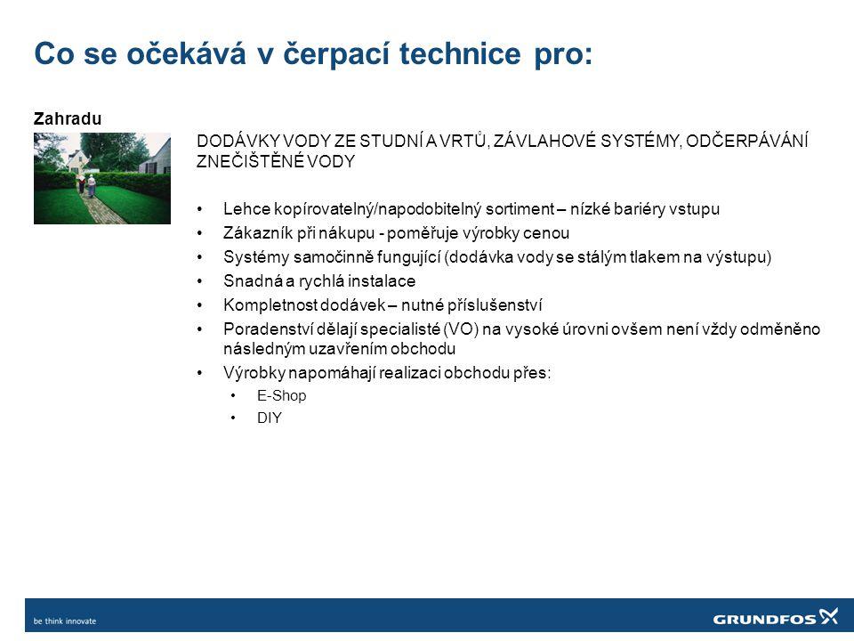 Co se očekává v čerpací technice pro: Zahradu DODÁVKY VODY ZE STUDNÍ A VRTŮ, ZÁVLAHOVÉ SYSTÉMY, ODČERPÁVÁNÍ ZNEČIŠTĚNÉ VODY Lehce kopírovatelný/napodobitelný sortiment – nízké bariéry vstupu Zákazník při nákupu - poměřuje výrobky cenou Systémy samočinně fungující (dodávka vody se stálým tlakem na výstupu) Snadná a rychlá instalace Kompletnost dodávek – nutné příslušenství Poradenství dělají specialisté (VO) na vysoké úrovni ovšem není vždy odměněno následným uzavřením obchodu Výrobky napomáhají realizaci obchodu přes: E-Shop DIY