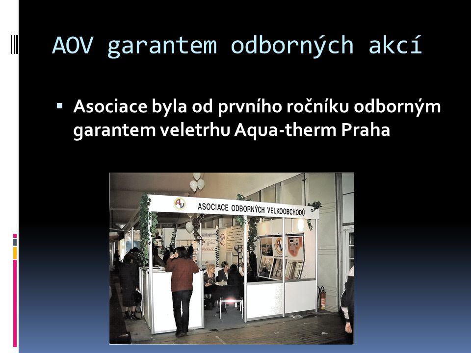 AOV garantem odborných akcí  Asociace byla od prvního ročníku odborným garantem veletrhu Aqua-therm Praha