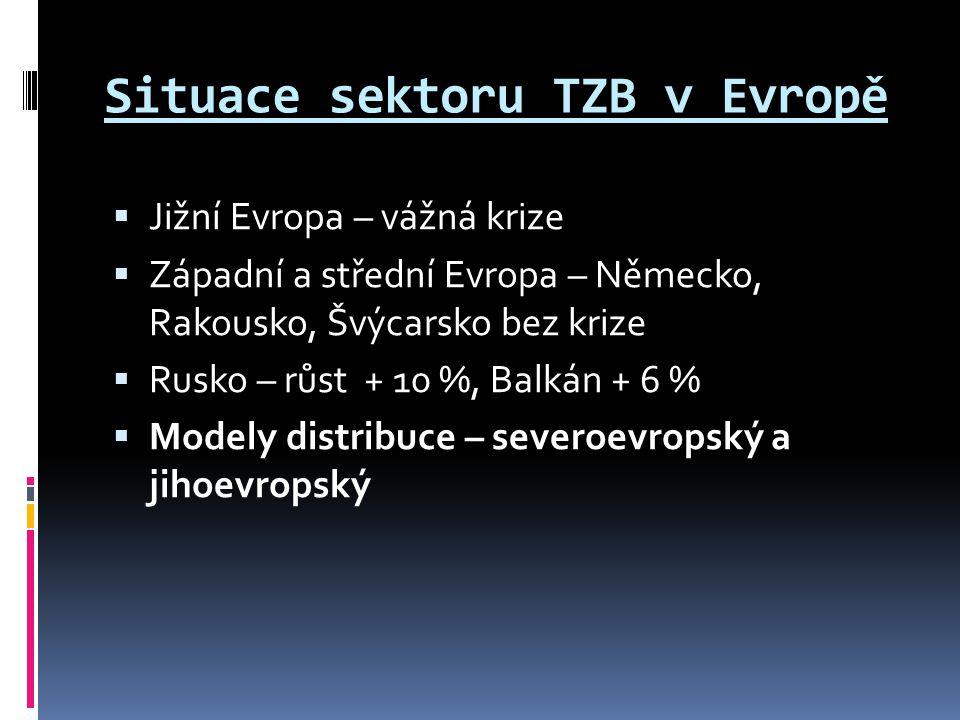 Situace sektoru TZB v Evropě  Jižní Evropa – vážná krize  Západní a střední Evropa – Německo, Rakousko, Švýcarsko bez krize  Rusko – růst + 10 %, B