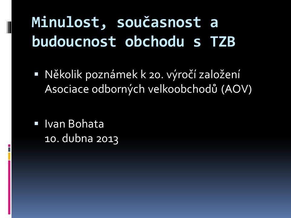 Minulost, současnost a budoucnost obchodu s TZB  Několik poznámek k 20. výročí založení Asociace odborných velkoobchodů (AOV)  Ivan Bohata 10. dubna