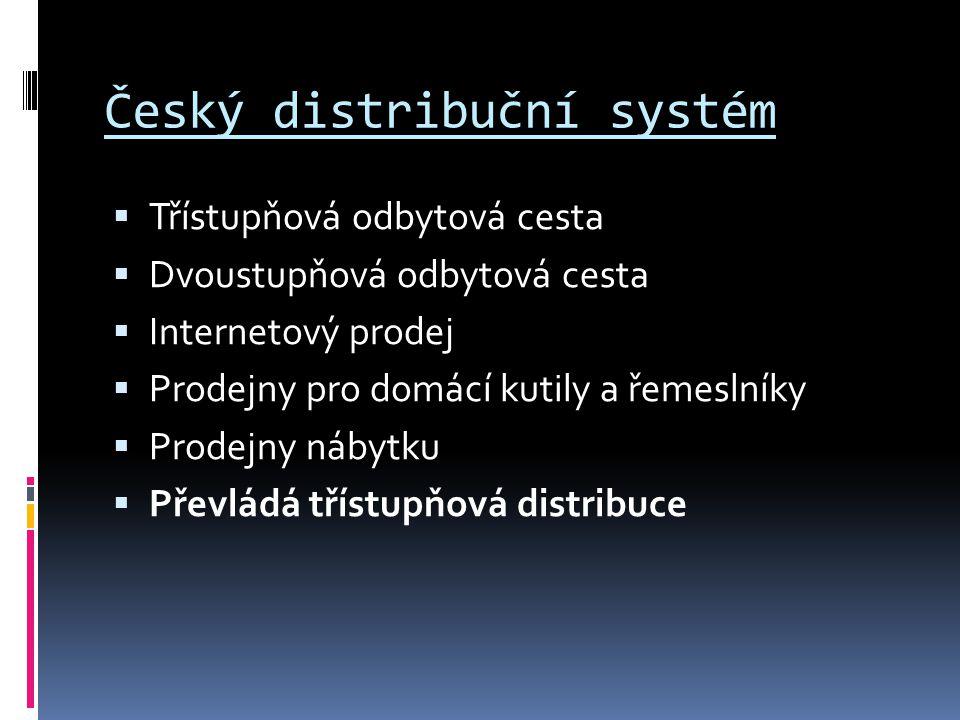 Český distribuční systém  Třístupňová odbytová cesta  Dvoustupňová odbytová cesta  Internetový prodej  Prodejny pro domácí kutily a řemeslníky  P