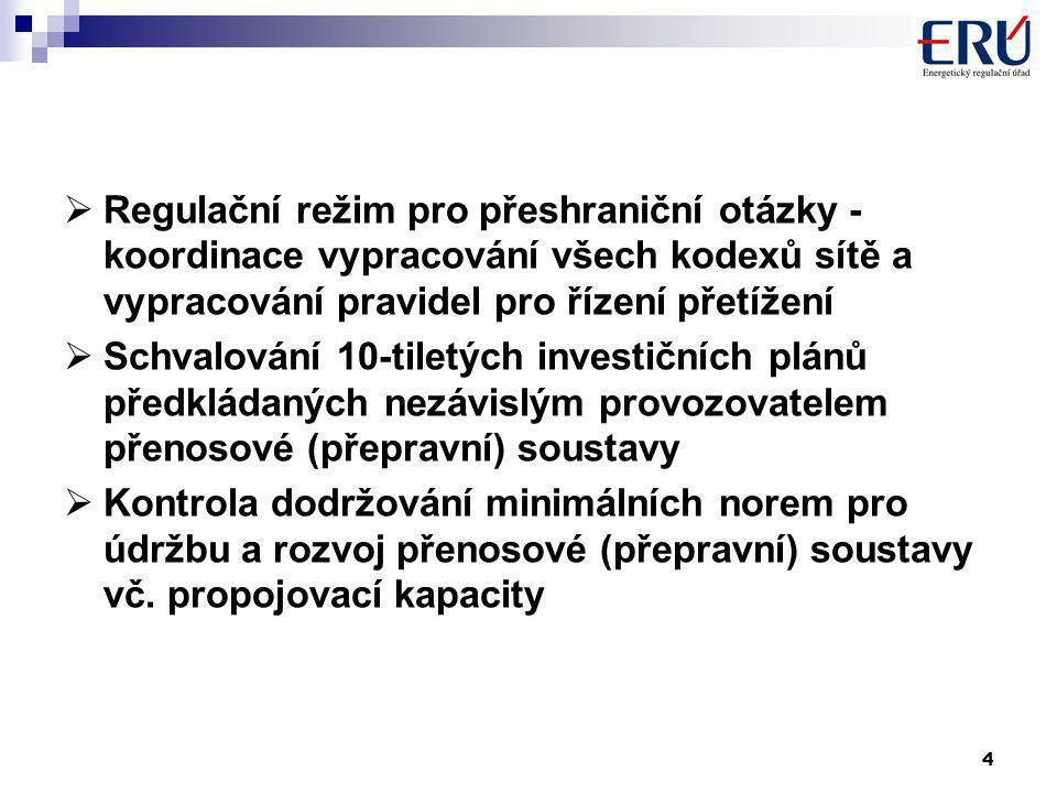 4  Regulační režim pro přeshraniční otázky - koordinace vypracování všech kodexů sítě a vypracování pravidel pro řízení přetížení  Schvalování 10-tiletých investičních plánů předkládaných nezávislým provozovatelem přenosové (přepravní) soustavy  Kontrola dodržování minimálních norem pro údržbu a rozvoj přenosové (přepravní) soustavy vč.