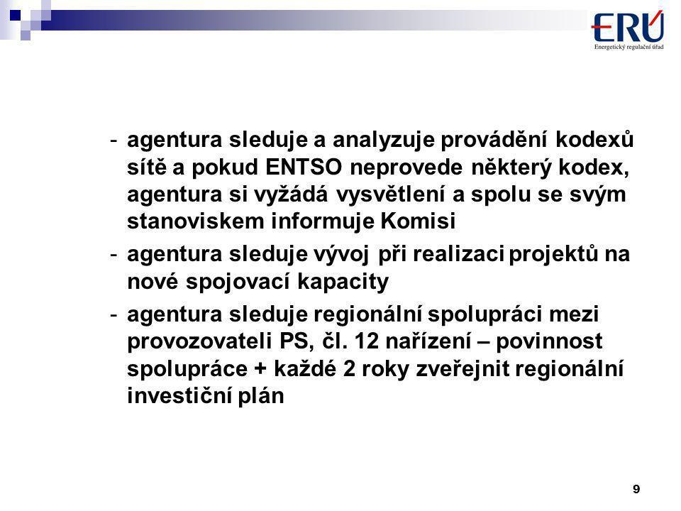 9 -agentura sleduje a analyzuje provádění kodexů sítě a pokud ENTSO neprovede některý kodex, agentura si vyžádá vysvětlení a spolu se svým stanoviskem informuje Komisi -agentura sleduje vývoj při realizaci projektů na nové spojovací kapacity -agentura sleduje regionální spolupráci mezi provozovateli PS, čl.