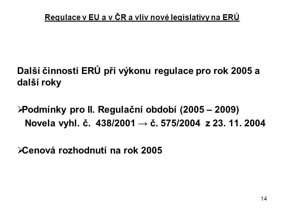14 Regulace v EU a v ČR a vliv nové legislativy na ERÚ Další činnosti ERÚ při výkonu regulace pro rok 2005 a další roky  Podmínky pro II.
