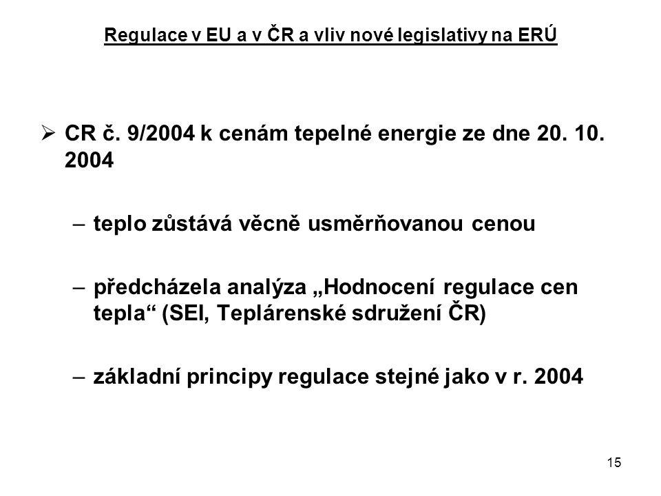 15 Regulace v EU a v ČR a vliv nové legislativy na ERÚ  CR č.