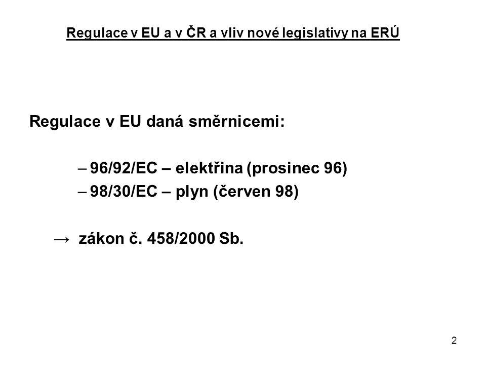 13 Regulace v EU a v ČR a vliv nové legislativy na ERÚ  Směrnice ES č.