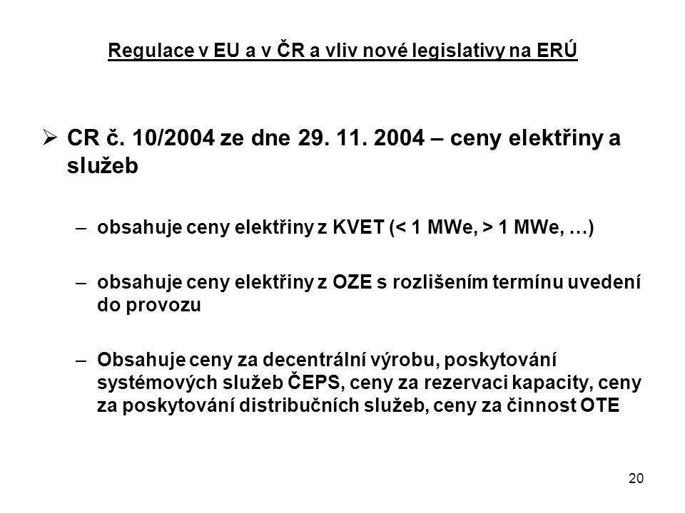 20 Regulace v EU a v ČR a vliv nové legislativy na ERÚ  CR č.