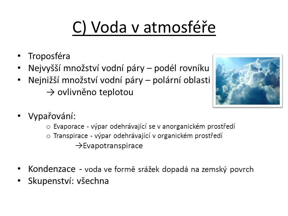 C) Voda v atmosféře Troposféra Nejvyšší množství vodní páry – podél rovníku Nejnižší množství vodní páry – polární oblasti → ovlivněno teplotou Vypařo