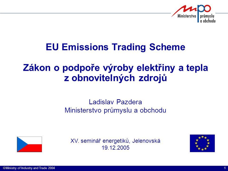 1  Ministry of Industry and Trade 2004 EU Emissions Trading Scheme Zákon o podpoře výroby elektřiny a tepla z obnovitelných zdrojů Ladislav Pazdera