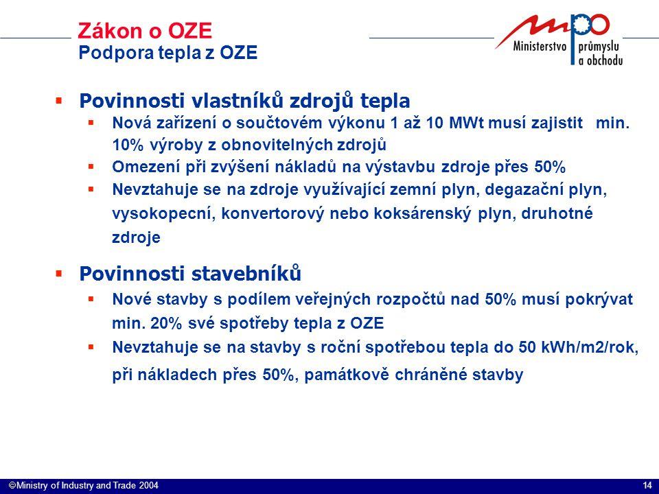 14  Ministry of Industry and Trade 2004 Zákon o OZE Podpora tepla z OZE  Povinnosti vlastníků zdrojů tepla  Nová zařízení o součtovém výkonu 1 až