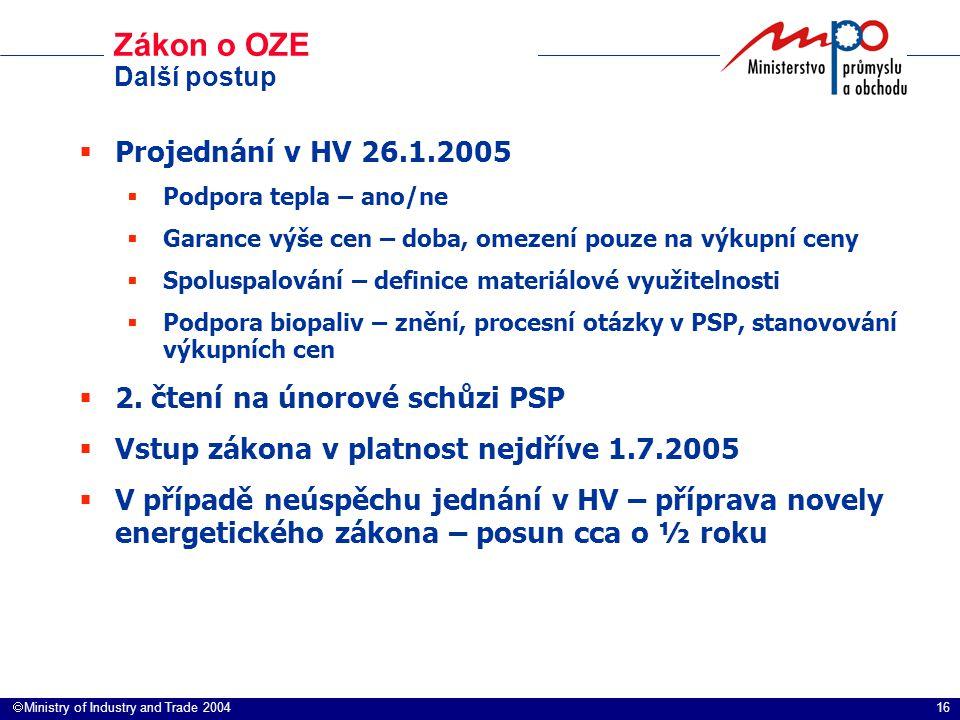 16  Ministry of Industry and Trade 2004 Zákon o OZE Další postup  Projednání v HV 26.1.2005  Podpora tepla – ano/ne  Garance výše cen – doba, ome