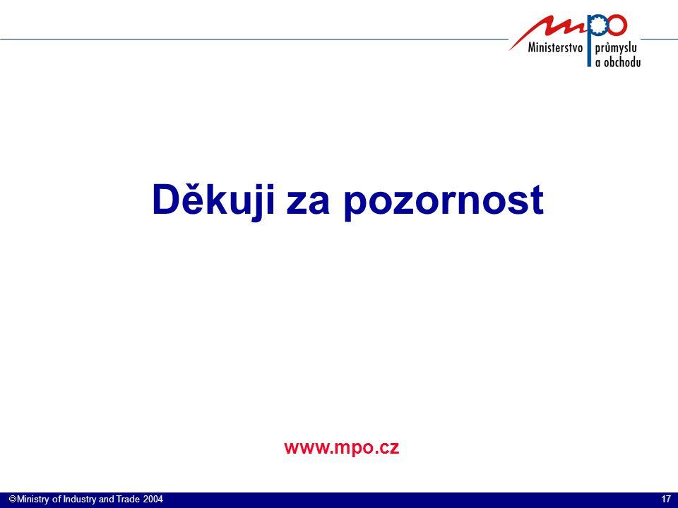 17  Ministry of Industry and Trade 2004 www.mpo.cz Děkuji za pozornost