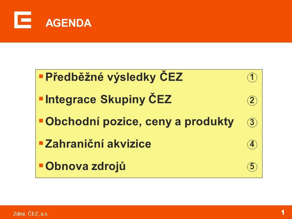 Zdroj:ČEZ, a.s. 1 1 AGENDA  Předběžné výsledky ČEZ  Integrace Skupiny ČEZ  Obchodní pozice, ceny a produkty  Zahraniční akvizice  Obnova zdrojů 1