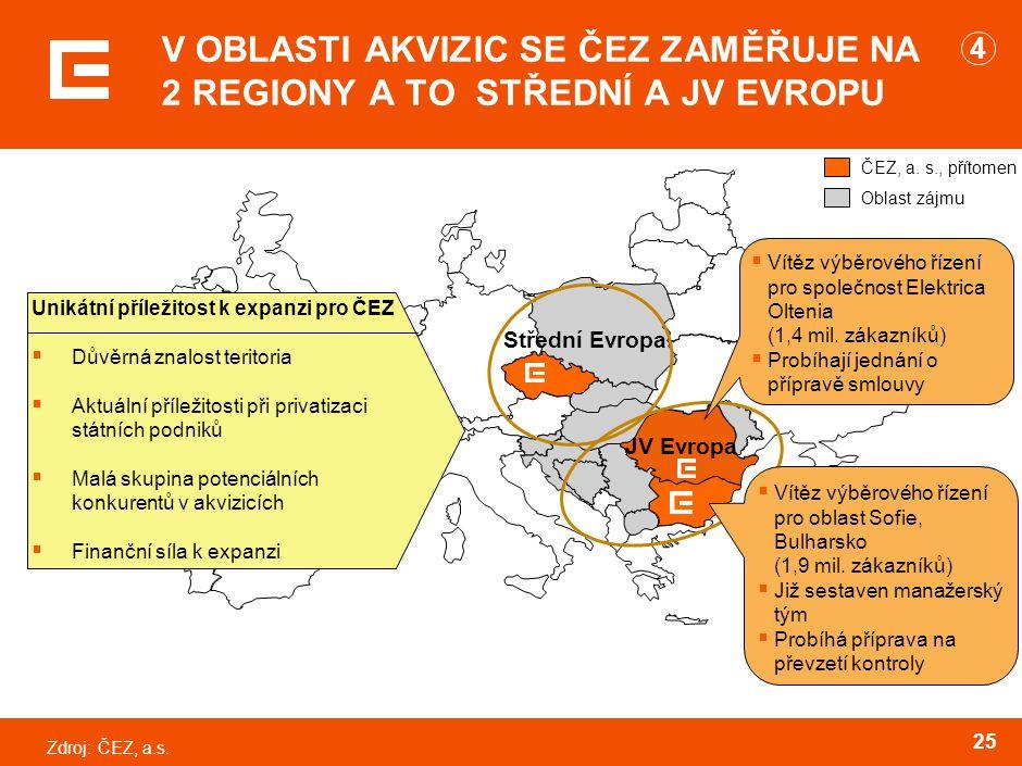 Zdroj:ČEZ, a.s.25 V OBLASTI AKVIZIC SE ČEZ ZAMĚŘUJE NA 2 REGIONY A TO STŘEDNÍ A JV EVROPU ČEZ, a.