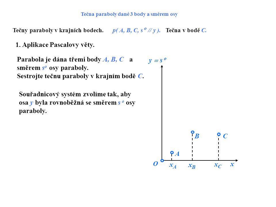 Tečna paraboly dané 3 body a směrem osy Tečny paraboly v krajních bodech.