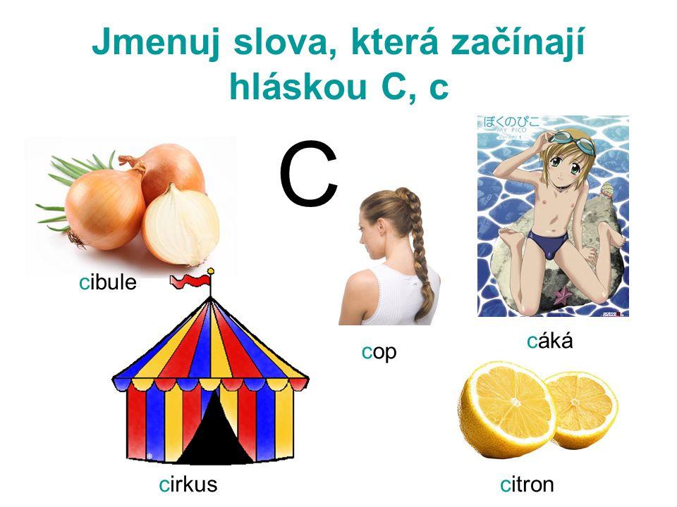 Jmenuj slova, která začínají hláskou C, c cibule cop cáká cirkuscitron C