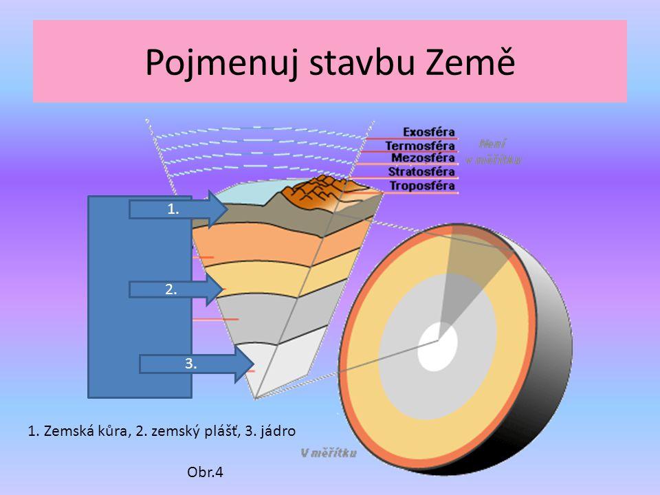 Pojmenuj stavbu Země 3. 2. 1. Obr.4 1. Zemská kůra, 2. zemský plášť, 3. jádro