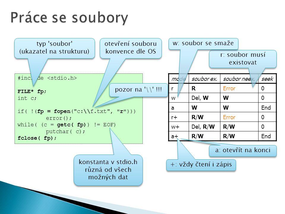 #include FILE* fp; int c; if( !(fp = fopen( c:\\f.txt , r ))) error(); while( (c = getc( fp)) != EOF) putchar( c); fclose( fp); typ soubor (ukazatel na strukturu) typ soubor (ukazatel na strukturu) otevření souboru konvence dle OS otevření souboru konvence dle OS pozor na \\ !!.