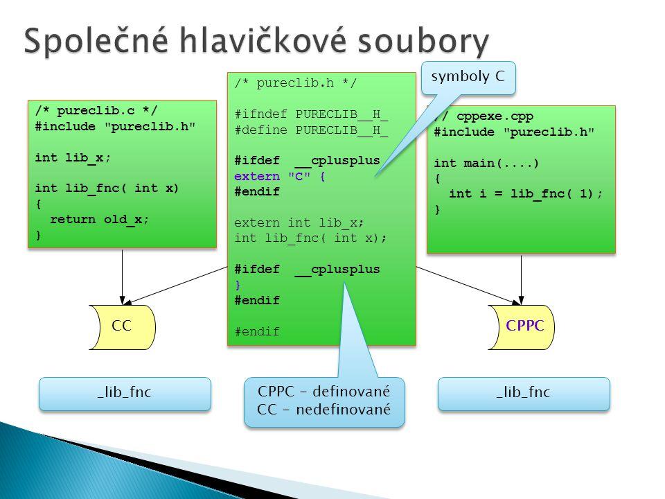 /* pureclib.c */ #include pureclib.h int lib_x; int lib_fnc( int x) { return old_x; } /* pureclib.c */ #include pureclib.h int lib_x; int lib_fnc( int x) { return old_x; } /* pureclib.h */ #ifndef PURECLIB__H_ #define PURECLIB__H_ #ifdef __cplusplus extern C { #endif extern int lib_x; int lib_fnc( int x); #ifdef __cplusplus } #endif /* pureclib.h */ #ifndef PURECLIB__H_ #define PURECLIB__H_ #ifdef __cplusplus extern C { #endif extern int lib_x; int lib_fnc( int x); #ifdef __cplusplus } #endif // cppexe.cpp #include pureclib.h int main(....) { int i = lib_fnc( 1); } // cppexe.cpp #include pureclib.h int main(....) { int i = lib_fnc( 1); } CPPC CC symboly C _lib_fnc CPPC - definované CC - nedefinované CPPC - definované CC - nedefinované