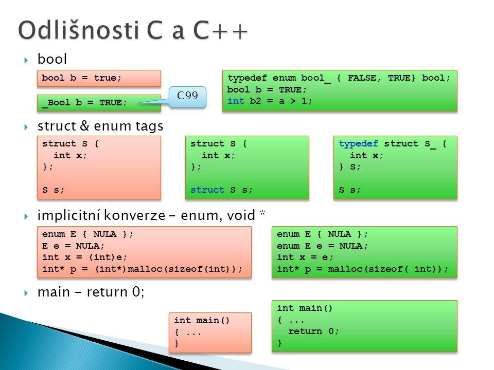  bool  struct & enum tags  implicitní konverze - enum, void *  main - return 0; struct S { int x; }; S s; struct S { int x; }; S s; struct S { int x; }; struct S s; struct S { int x; }; struct S s; typedef struct S_ { int x; } S; S s; typedef struct S_ { int x; } S; S s; bool b = true; typedef enum bool_ { FALSE, TRUE} bool; bool b = TRUE; int b2 = a > 1; typedef enum bool_ { FALSE, TRUE} bool; bool b = TRUE; int b2 = a > 1; _Bool b = TRUE; C99 enum E { NULA }; enum E e = NULA; int x = e; int* p = malloc(sizeof( int)); enum E { NULA }; enum E e = NULA; int x = e; int* p = malloc(sizeof( int)); enum E { NULA }; E e = NULA; int x = (int)e; int* p = (int*)malloc(sizeof(int)); enum E { NULA }; E e = NULA; int x = (int)e; int* p = (int*)malloc(sizeof(int)); int main() {...