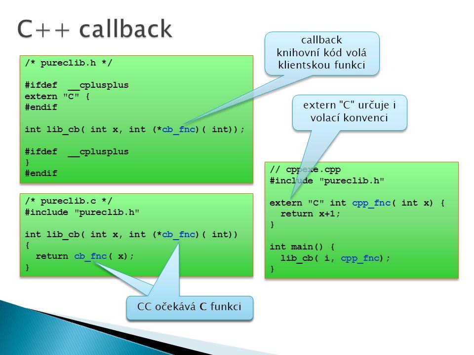 /* pureclib.c */ #include pureclib.h int lib_cb( int x, int (*cb_fnc)( int)) { return cb_fnc( x); } /* pureclib.c */ #include pureclib.h int lib_cb( int x, int (*cb_fnc)( int)) { return cb_fnc( x); } /* pureclib.h */ #ifdef __cplusplus extern C { #endif int lib_cb( int x, int (*cb_fnc)( int)); #ifdef __cplusplus } #endif /* pureclib.h */ #ifdef __cplusplus extern C { #endif int lib_cb( int x, int (*cb_fnc)( int)); #ifdef __cplusplus } #endif // cppexe.cpp #include pureclib.h extern C int cpp_fnc( int x) { return x+1; } int main() { lib_cb( i, cpp_fnc); } // cppexe.cpp #include pureclib.h extern C int cpp_fnc( int x) { return x+1; } int main() { lib_cb( i, cpp_fnc); } CC očekává C funkci extern C určuje i volací konvenci callback knihovní kód volá klientskou funkci CC očekává C funkci