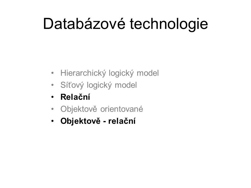Databázové technologie Hierarchický logický model Síťový logický model Relační Objektově orientované Objektově - relační