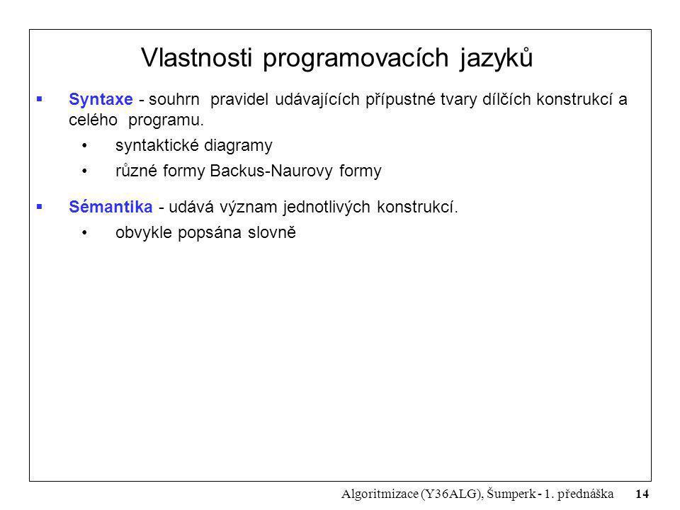 14 Algoritmizace (Y36ALG), Šumperk - 1. přednáška Vlastnosti programovacích jazyků  Syntaxe - souhrn pravidel udávajících přípustné tvary dílčích kon