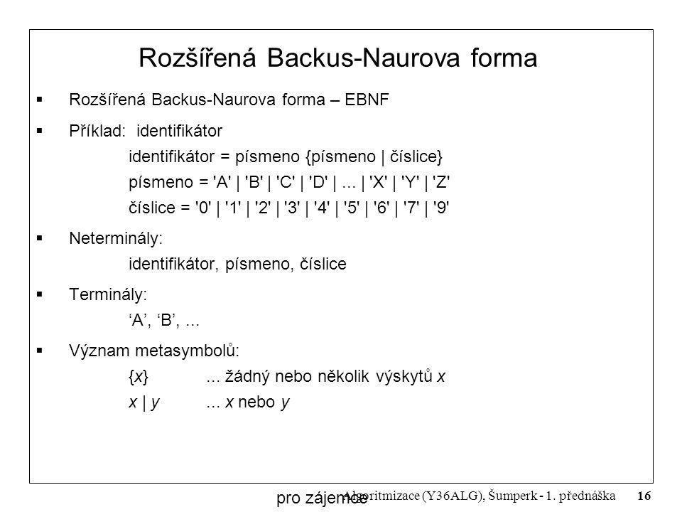 16 Algoritmizace (Y36ALG), Šumperk - 1. přednáška Rozšířená Backus-Naurova forma  Rozšířená Backus-Naurova forma – EBNF  Příklad: identifikátor iden