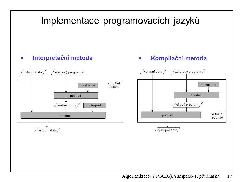 17 Algoritmizace (Y36ALG), Šumperk - 1. přednáška Implementace programovacích jazyků  Interpretační metoda  Kompilační metoda