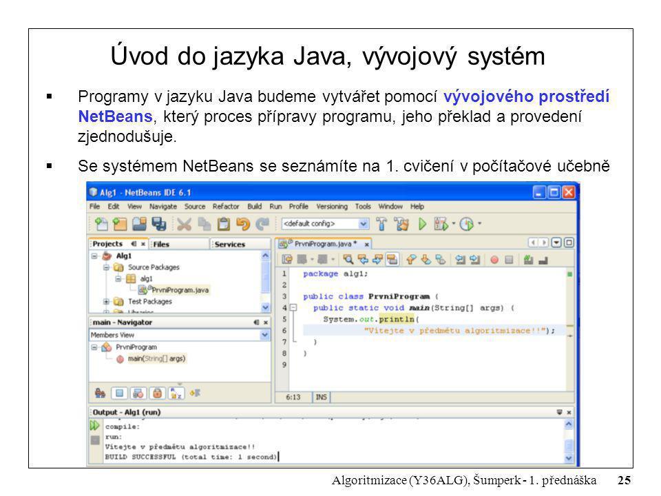 25 Algoritmizace (Y36ALG), Šumperk - 1. přednáška Úvod do jazyka Java, vývojový systém  Programy v jazyku Java budeme vytvářet pomocí vývojového pros