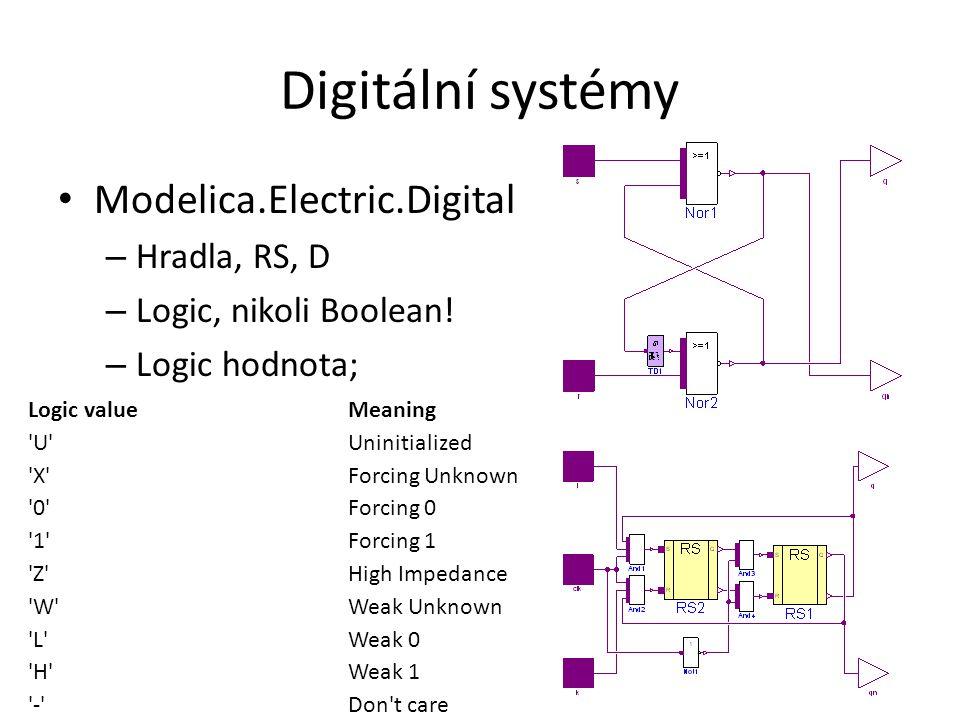 Digitální systémy Modelica.Electric.Digital – Hradla, RS, D – Logic, nikoli Boolean.