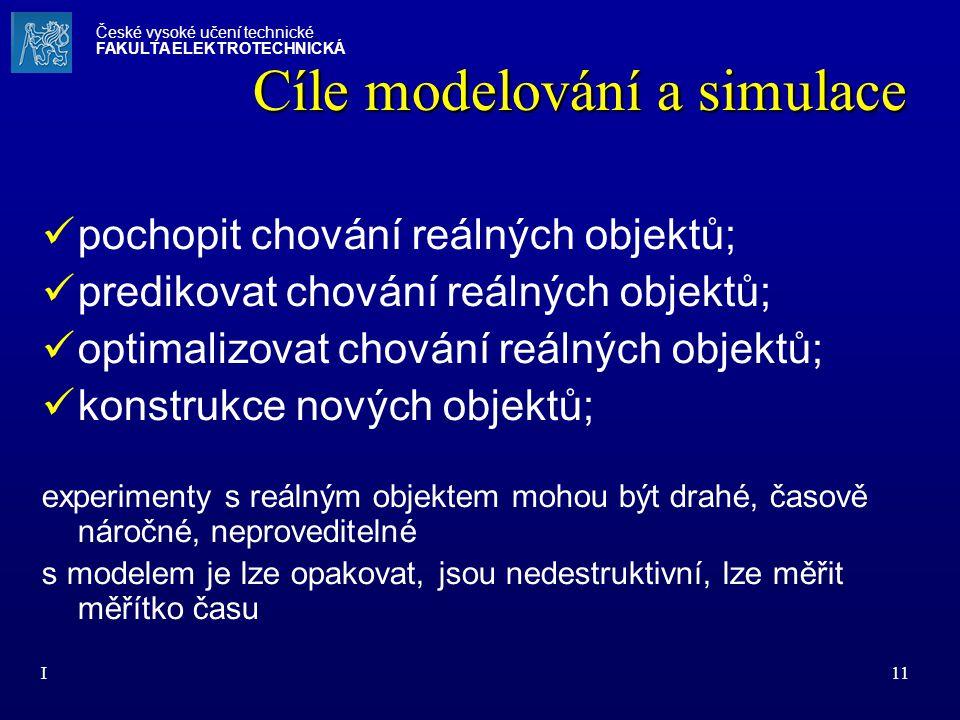 I11 Cíle modelování a simulace pochopit chování reálných objektů; predikovat chování reálných objektů; optimalizovat chování reálných objektů; konstru