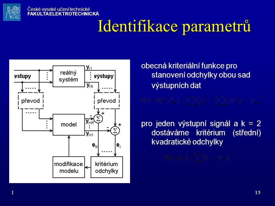 I15 Identifikace parametrů obecná kriteriální funkce pro stanovení odchylky obou sad výstupních dat pro jeden výstupní signál a k = 2 dostáváme kritér