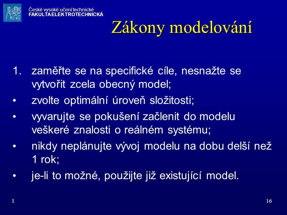 I16 Zákony modelování 1.zaměřte se na specifické cíle, nesnažte se vytvořit zcela obecný model; zvolte optimální úroveň složitosti; vyvarujte se pokuš