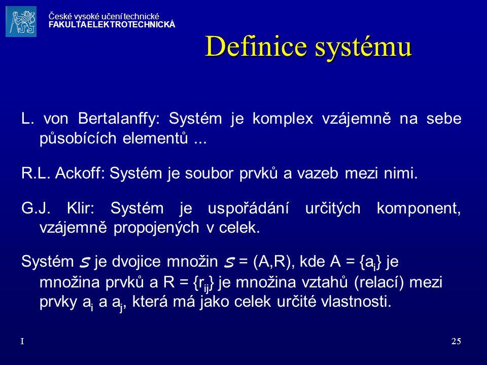 I25 Definice systému L. von Bertalanffy: Systém je komplex vzájemně na sebe působících elementů... R.L. Ackoff: Systém je soubor prvků a vazeb mezi ni