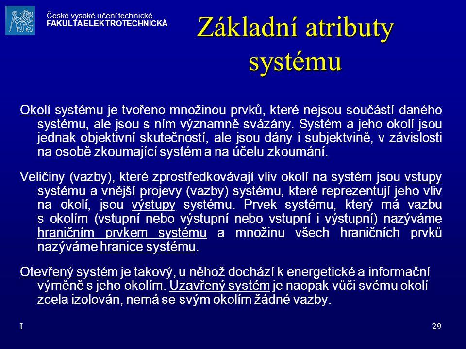 I29 Základní atributy systému Okolí systému je tvořeno množinou prvků, které nejsou součástí daného systému, ale jsou s ním významně svázány. Systém a