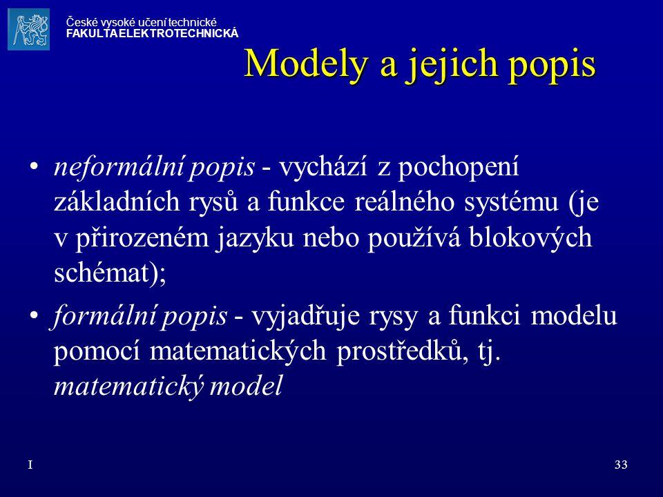 I33 Modely a jejich popis neformální popis - vychází z pochopení základních rysů a funkce reálného systému (je v přirozeném jazyku nebo používá blokov